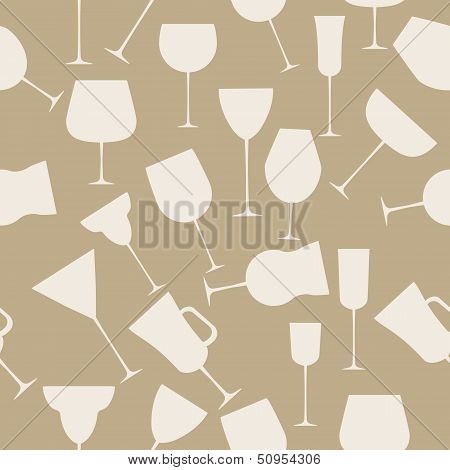 Seamless background pattern of alcoholic glass. Retro vintage st
