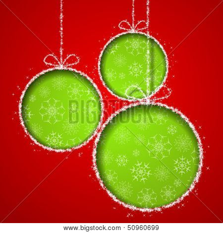 Abstract Xmas greeting card with green Christmas balls cutted from red paper background. Vector eps10 illustration