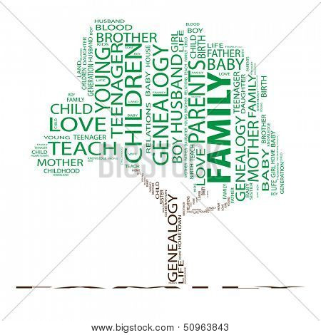 High resolution concept or conceptual green text word cloud or tagcloud as a tree isolated on white background as a metaphor for child,family,education,life,home,love and school learn or achievement
