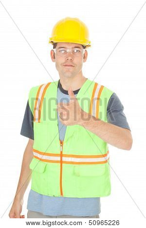Construction Worker Gives Thumbs Up Sign