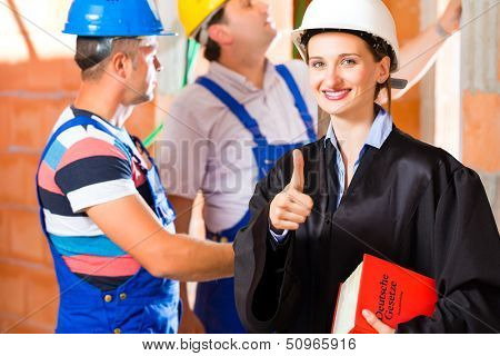 Reviewer or expert or lawyer and builder or worker with helmets controlling a construction or building site to report defect or fault or deficiency in a protocol