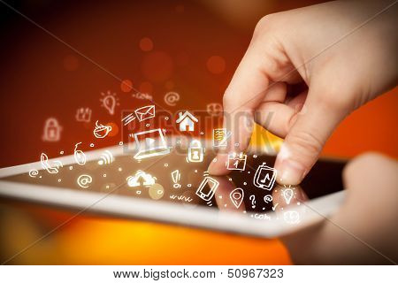 Hand touching tablet pc, social media concept