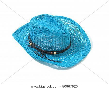 Blue Raffia Woven Fedora Hat With Leather Beaded Knotted Cord