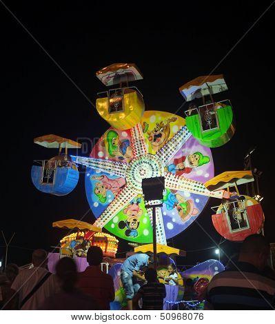Funfair at night