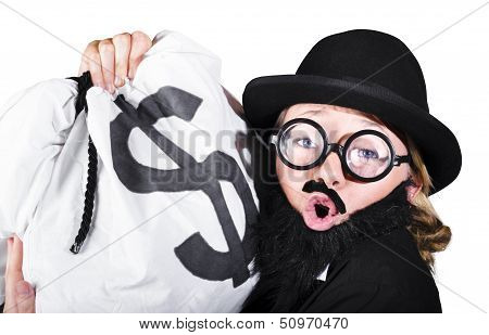 Disguised Woman Holding Moneybag
