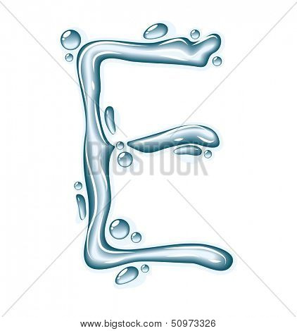 poster of Blue water and clear drops. Liquid vector alphabet.