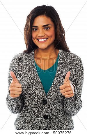 Attractive Girl Showing Double Thumbs Up