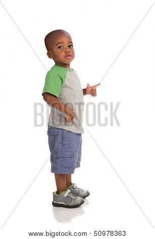 2 year old baby boy standing wear casual outfit isolated on white background