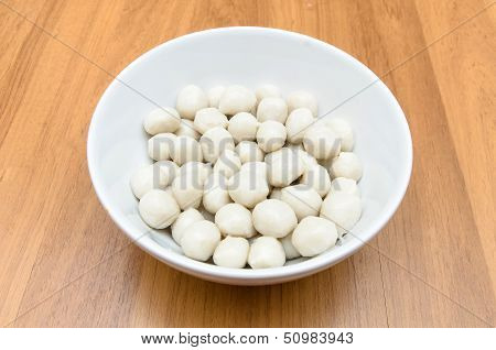 Fish Meat Ball In Bowl On Wooden Table