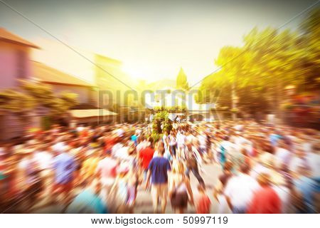 Crowd of walking people in the city.