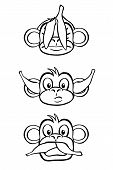 Black and white rendition of the three wise monkeys. poster