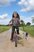 little girl with her jack russel terrier on a bicycle poster