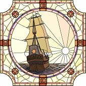 Vector mosaic with large cells of sailing ships of the 17th century at sunset in round stained-glass window frame. poster