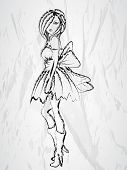 Sketch of young beautiful fashionable girl on grey background.  poster