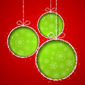 Abstract Xmas greeting card with green Christmas balls cutted from red paper background. Vector eps10 illustration poster