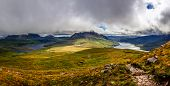 Panoramic view of beautiful lakes and clouds in Inverpolly area Scotland United Kingdom poster