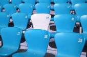 Detailed view on tribune seats in a sports stadion poster