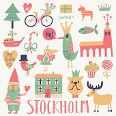 Stockholm Sweden set in vector. Cute stylish scandinavian set with house, church, gnome, birds, moose, bicycle, horse and other Stockholm symbols in bright colors poster