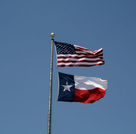 Us Flag And Texas Flag