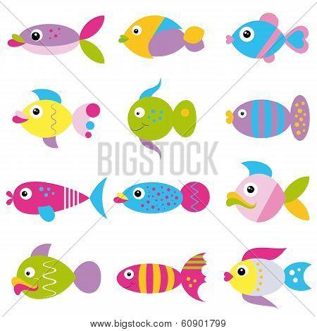 colorful cartoon funky fish pattern