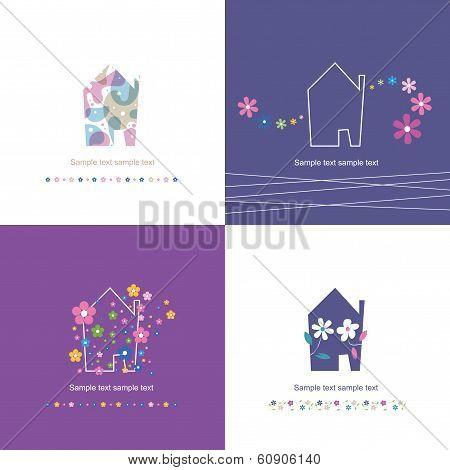 housewarming house symbol set