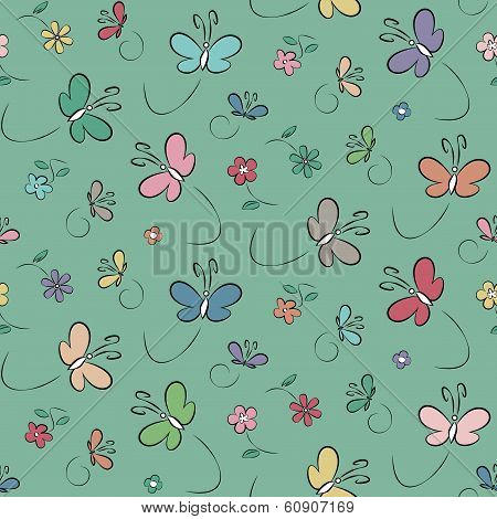 butterflies and flowers pattern