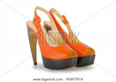 Stylish woman shoes on white in fashion concept