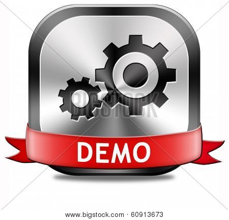 Demo button or icon for free trial download demonstration