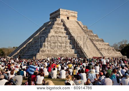 Large Group Of People Watching The Spring Equinox At Chichen Itza Kukulcan Temple