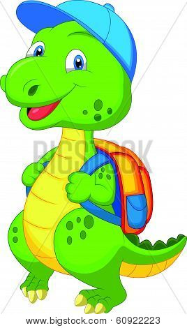Vector illustration of Cute dinosaur cartoon with backpack poster