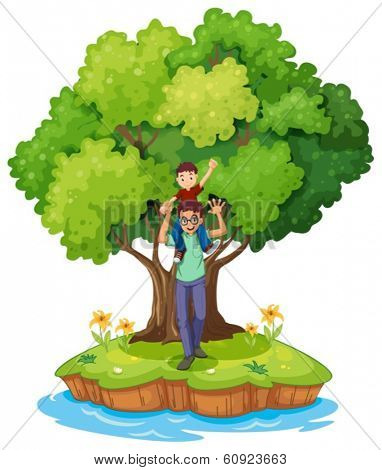 Illustration of a young boy carried by his father near the big tree on a white background