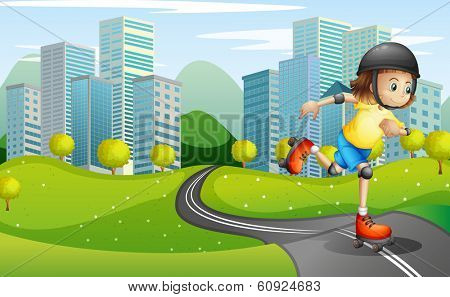 Illustration of a girl rollerskating at the road with a safety helmet
