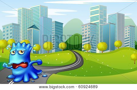 Illustration of a monster running at the road near the buildings