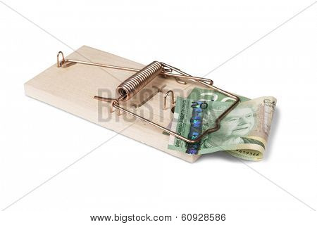 Mouse trap with Canadian dollars, isolated over white