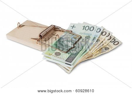 Mouse trap with Polish zloty, isolated over white.
