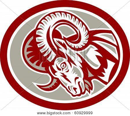 Ram Goat Head Side Circle Retro