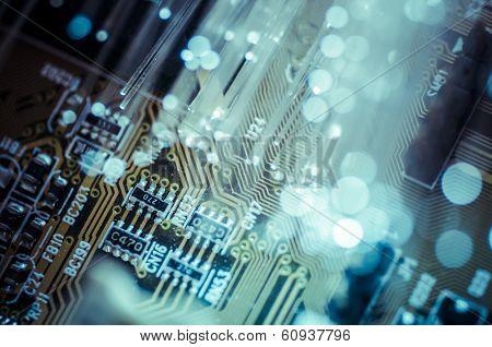 Fiber optic cables, fibre connection, telecomunications concept. vibrant
