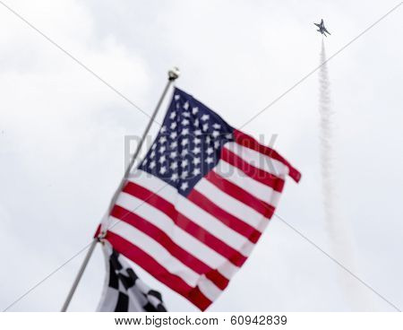 Daytona Beach, NC - Feb 23, 2014:  The US Air Force Thunderbirds perform before the start of the 56th Annual Daytona International Speedway at Daytona International Speedway in Daytona Beach, NC.