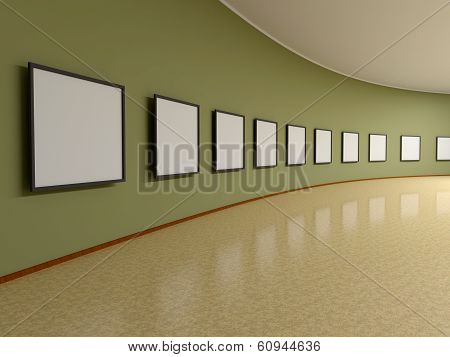 Abstract Background. 3D Render. Frame On The Wall Of The Exhibition Hall.