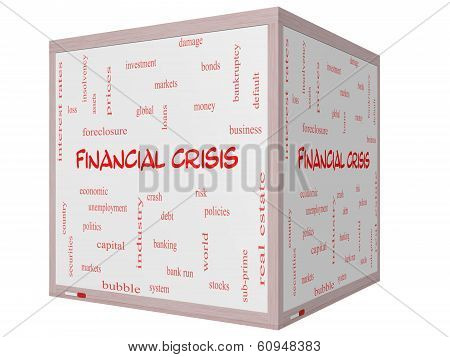 Financial Crisis Word Cloud Concept On A 3D Cube Whiteboard