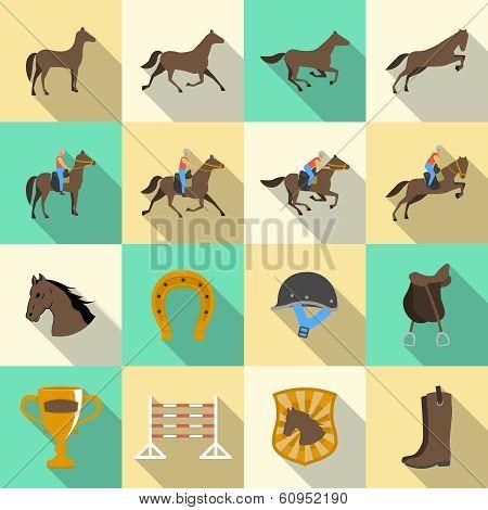 Horseback riding flat shadows icons set