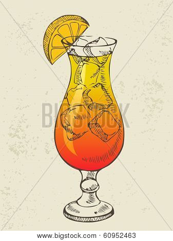 Cocktail tequila sunrise with ice.