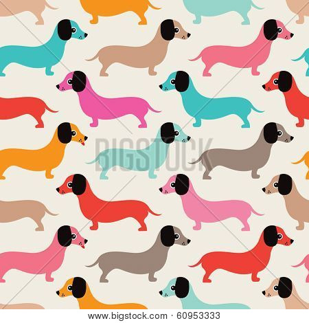 Seamless retro style dachshund puppy pattern illustration background in vector