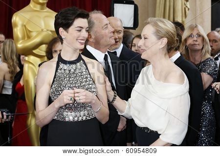 LOS ANGELES - MAR 2:: Anne Hathaway, Meryl Streep  at the 86th Annual Academy Awards at Hollywood & Highland Center on March 2, 2014 in Los Angeles, California