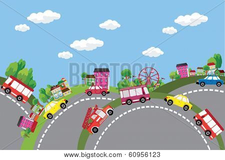 Vector background summer city with cars on the roads