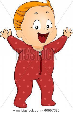 Illustration of a Happy Baby Boy Wearing Footie Pajamas