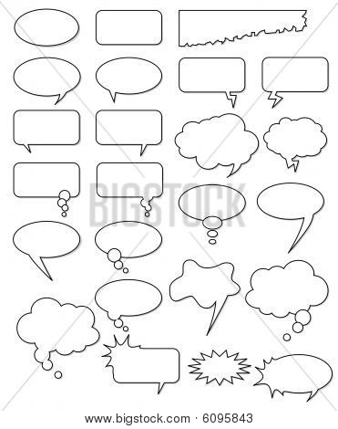 Collection of different empty vector shapes for comics or web. Add text, easy to edit, any size.
