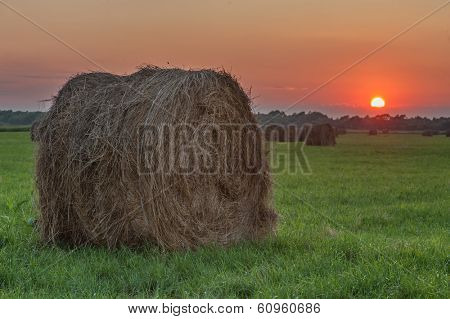 straw bale on field on sunset time