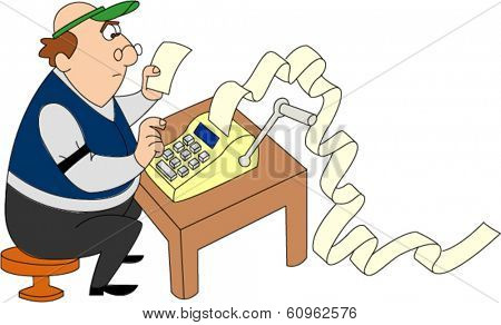 Man wearing green visor running adding machine and piling up