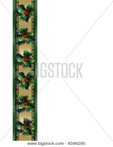 Christmas Border Holly and ribbon elegant